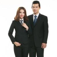 男款商务职业装春秋时尚西装外套银行职员职员套装西服三件套