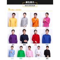 新款长袖全棉网眼翻领T恤中性男女款文化衫可印绣LOGO